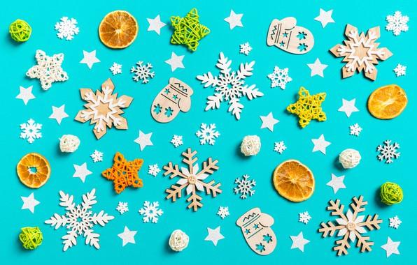 Картинка снежинки, фон, игрушки, Новый год, фигурки, Орнамент