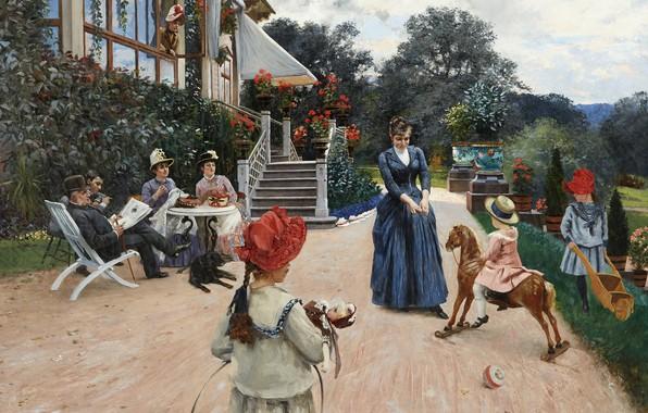 Картинка 1886, шведский художник, Swedish painter, Хьюго Биргер, Hugo Birger, Экебакен, Ekebacken