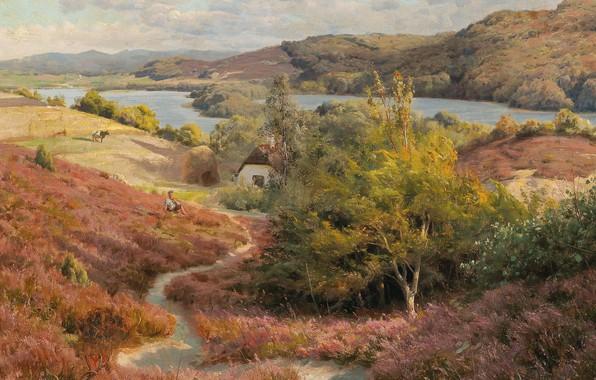 Картинка датский живописец, 1907, Петер Мёрк Мёнстед, Peder Mørk Mønsted, Danish realist painter, oil on canvas, …