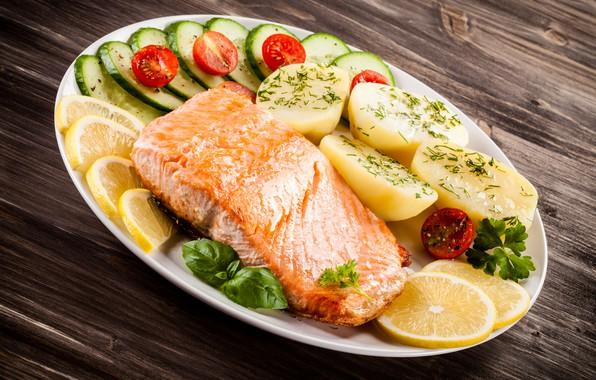 Картинка зелень, рыба, лимоны, картофель