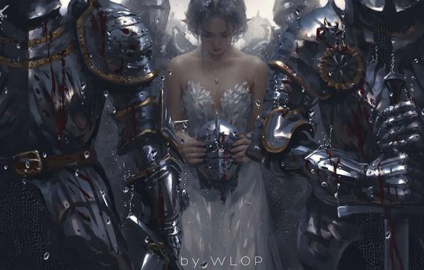 Картинка дождь, кровь, меч, шлем, белое платье, принцесса, рыцари, скорбь, конвой, Wlop, доспехи латные, стажа
