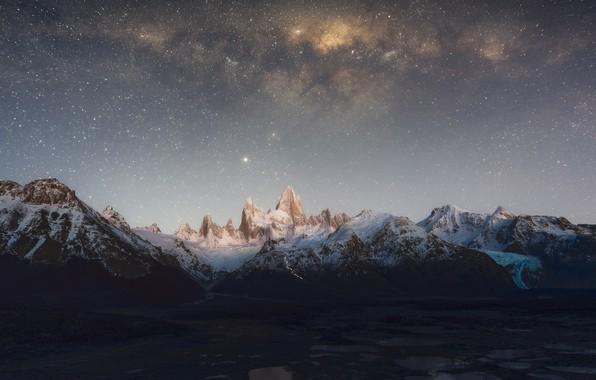 Картинка небо, звезды, горы, Млечный Путь, sky, mountains, stars, Milky Way, Patagonia, Патагония, Zhu Xiao