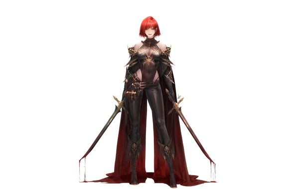 Картинка girl, blood, fantasy, cleavage, minimalism, breast, Warrior, bloody, redhead, weapons, digital art, artwork, swords, fantasy …