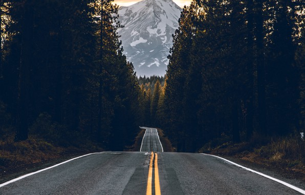 Картинка forest, road, sky, trees, nature, yellow, sunset, glow, view, mountain, landscapes, asphalt, shade, sunbeam, peak, …