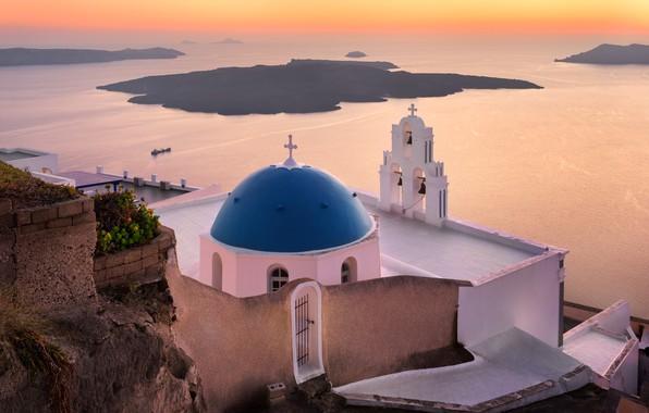 Картинка море, пейзаж, закат, город, скала, вечер, Санторини, Греция, церковь, купол, Тира, Ия