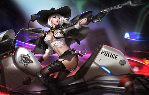 Картинка Девушка, Полиция, Байк, Мотоцикл, Погоня, Blizzard, Art, Game, Illustration, Револьвер, Ashe, Liang xing, Шериф, Overwatch, …