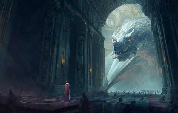 Картинка fantasy, Dragon, soldiers, armor, weapon, crown, people, artwork, palace, warriors, fantasy art, spears, king, hall, …