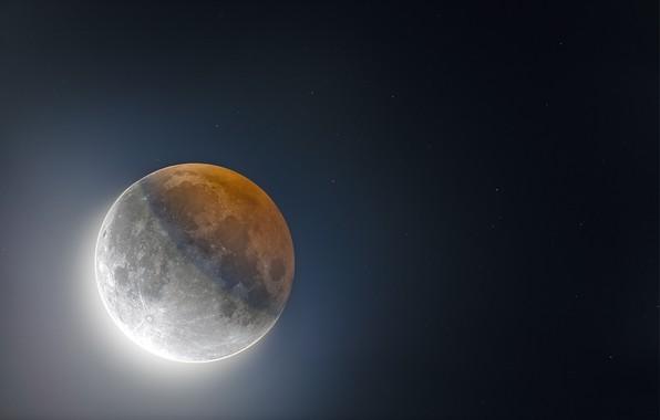 Картинка звезды, тень, Луна, затмение, Moon, eclipse, stars, shadow