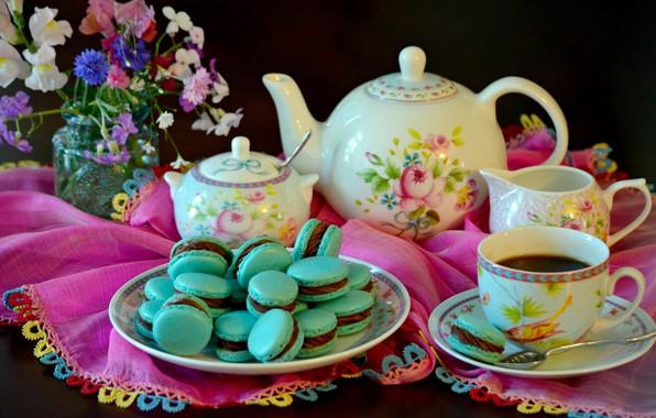 Картинка чаепитие, букетик, заварник, печеньки