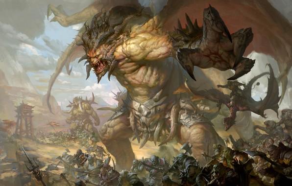 Картинка морда, атака, армия, пасть, монстры, когти, рога, сражение, орки, гиганты, черные крылья, злобный, мускулатура, The …