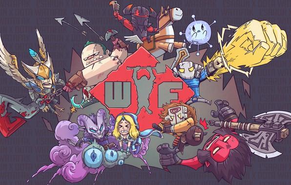 Картинка axe, рисунок, dota, art, wtf, juggernaut, dota 2, pudge, sven, crystal maiden, chaos knight, wisp, …