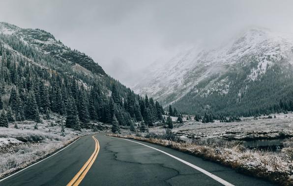 Обои туман, дорога, горы