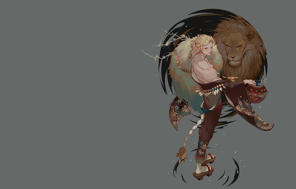 Картинка лев, аниме, арт, парень, LY 炼 妖, 狮子 座