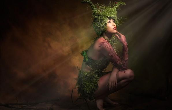 Картинка зелень, девушка, лучи, свет, цветы, лицо, поза, темнота, темный фон, фон, стена, ноги, растения, руки, …