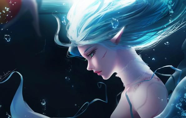 Картинка girl, bubbles, fantasy, green eyes, underwater, artist, elf, digital art, artwork, fantasy art, scar, blue …