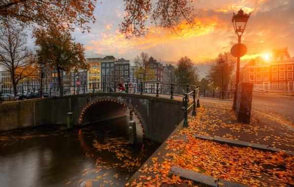 Картинка осень, закат, мост, город, листва, дома, Амстердам, канал, Нидерланды, набережная, Голландия, Ed Gordeev, Гордеев Эдуард, …