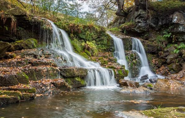 Картинка камни, Англия, водопад, Goathland