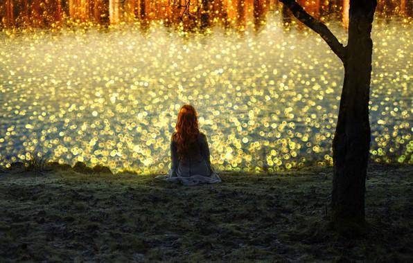 Картинка девушка, свет, река, берег, рыжая, боке