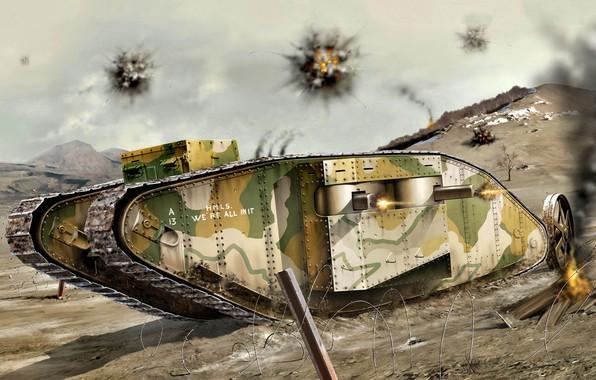 Картинка Колючая проволока, Female, Тяжелый танк, Mark V, Первая Мировая война, Mk.V