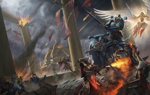 Картинка храм, битва, Adepta Sororitas, Вархаммер, Warhammer 40 000, Sister of Battle, traitors, Alpha Legion, chaos …