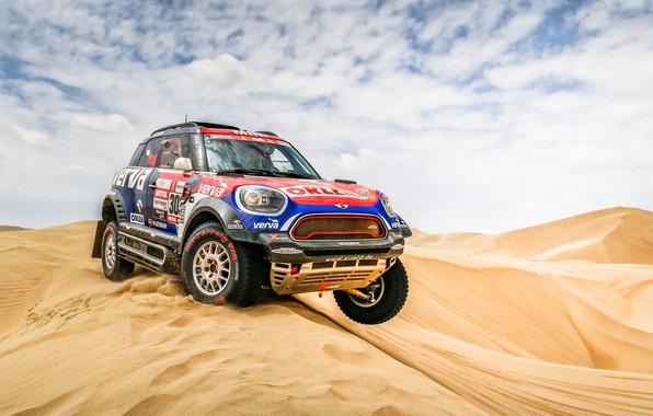 Картинка Песок, Авто, Mini, Спорт, Пустыня, Машина, Гонка, Автомобиль, Rally, Dakar, Дакар, Внедорожник, Ралли, Дюна, X-Raid …