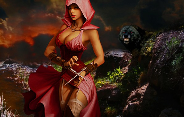 Картинка Девушка, Ночь, Волк