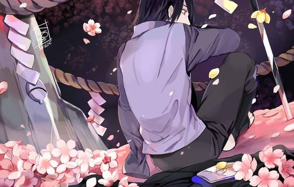 Картинка спина, катана, веревка, плащ, Sasuke Uchiha, Naruto Shippuden, Наруто Ураганные хроники, цветение сакуры