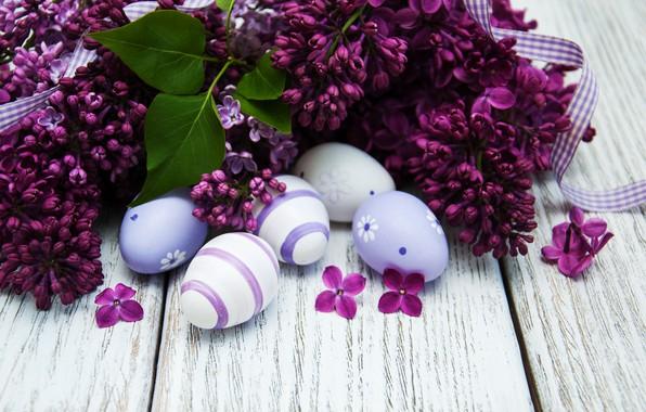Картинка цветы, яйца, Пасха, happy, wood, flowers, сирень, Easter, purple, eggs, decoration, lilac