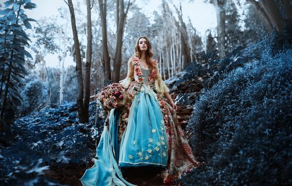 Картинка лес, девушка, цветы, платье, Ronny Garcia, The last flowers of the season
