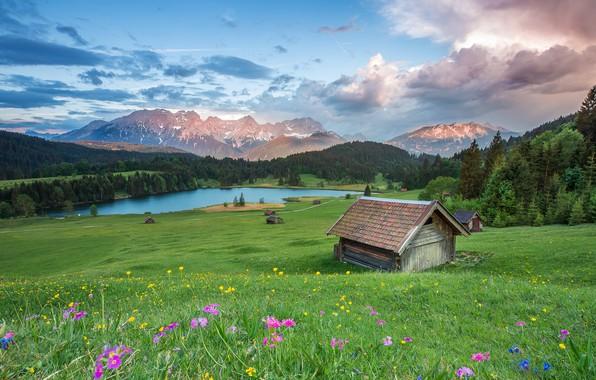 Картинка поле, лес, лето, небо, облака, пейзаж, цветы, горы, природа, река, холмы, голубое, вершины, склон, Альпы, …