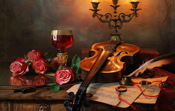 Картинка цветы, стиль, ноты, перо, скрипка, бокал, розы, свечи, натюрморт, подсвечник, Андрей Морозов