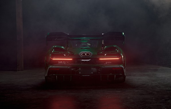 Картинка McLaren, суперкар, вид сзади, 2018, Senna, MSO, Fux Green