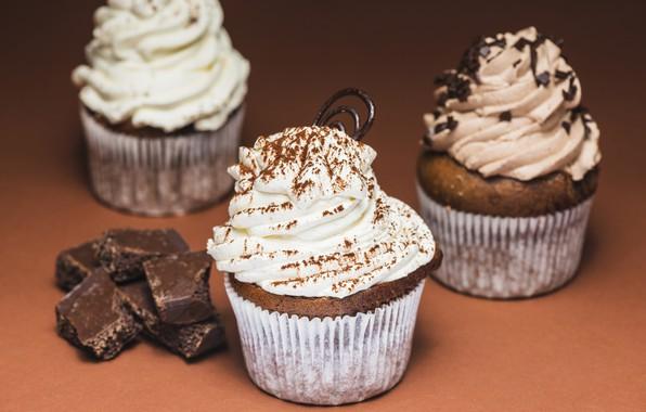 Картинка еда, шоколад, крем, десерт, выпечка, chocolate, sweet, cupcake, кексы, cream, dessert, muffins