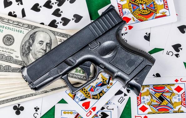 Картинка карты, пистолет, деньги, доллар
