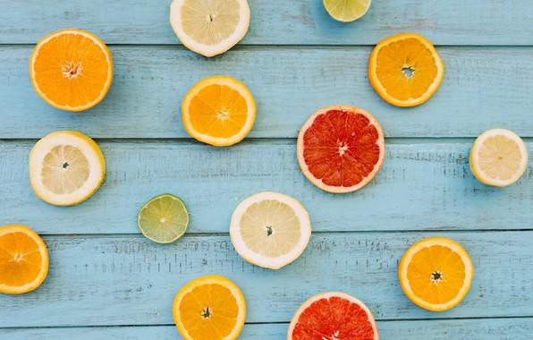 Картинка лимон, апельсин, lemon, фрукты, wood, ломтики, грейпфрут, fruit, orange, citrus, grapefruit, slice