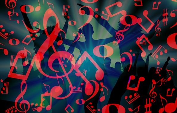 Картинка ноты, музыка, танцы, дискотека