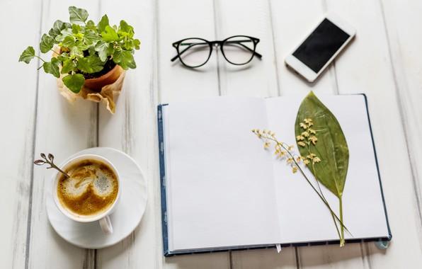 Обои цветок, цветы, кофе, очки, блокнот, wood, notebook, flowers, coffee, smartphone, mobile