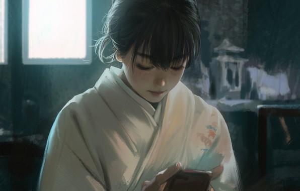 Картинка японка, окно, девочка, телефон, кимоно, азиатка, в комнате, art, чёлка, смотрит вниз, Rui Li