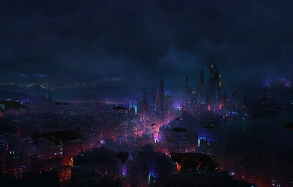 Картинка Ночь, Город, Будущее, Тучи, Небоскребы, Машины, City, Clouds, Арт, Art, Мегаполис, Night, Фантастика, Future, Транспорт, …