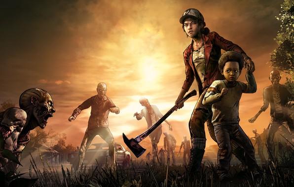 Картинка Топор, Зомби, Ситуация, The Walking Dead, Telltale Games, Выжившие, Клементина, Clementine, The Walking Dead: The …