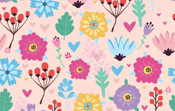 Картинка цветы, текстура, flowers, ФОН, pattern, berries, Seamless