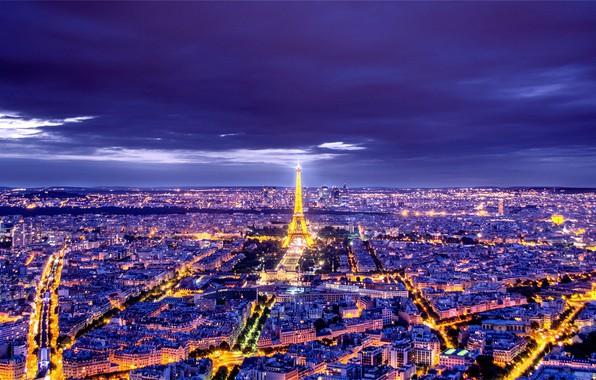Картинка ночь, город, фото, Франция, Париж
