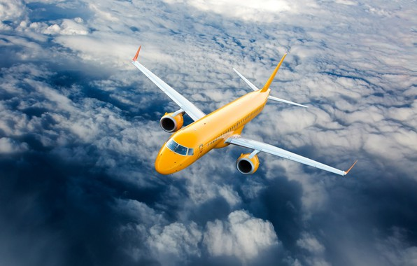 Картинка облака, жёлтый, высота, самолёт, летит, в небе, пассажирский