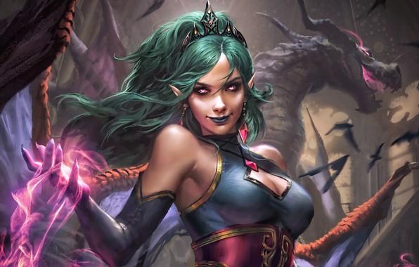 Картинка girl, fantasy, magic, cleavage, horns, breast, wings, birds, dragon, digital art, artwork, concept art, fantasy …