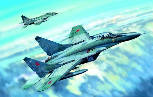 Картинка Облака, пара, поколения, многоцелевой истребитель, истребителей, реактивных, четвёртого, ВКС России, СССР/Россия, боевой самолёт, МиГ-29С