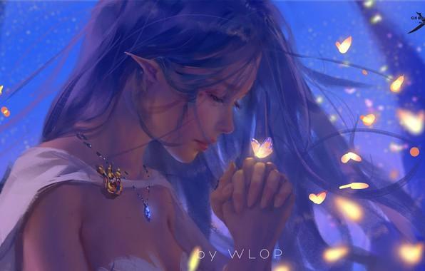 Картинка girl, fantasy, long hair, butterfly, elf, digital art, artwork, princess, fantasy art, necklace, closed eyes, …
