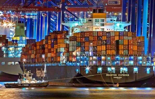 Фото обои Порт, Ночь, Судно, Контейнеровоз, Краны, Port, Буксир, Vessel, Hapag-Lloyd, Container Ship, Tug, Houston Express, M/V ...
