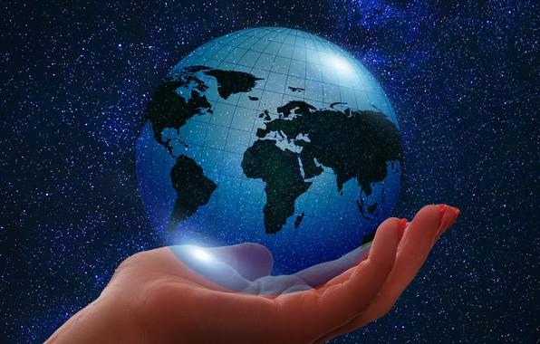 Картинка планета, Земля, ладонь