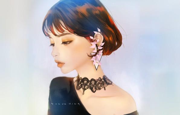 Картинка лицо, стрижка, губки, азиатка, серьга, голубой фон, в профиль, портрет девушки, чокер, шея плечи, by …