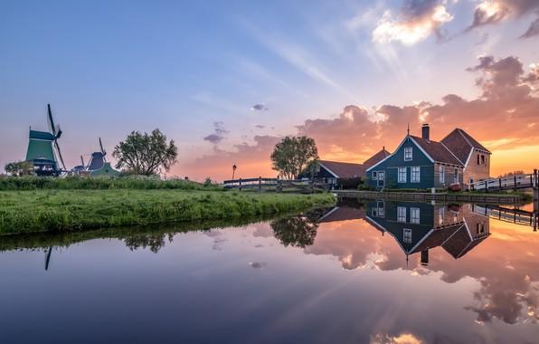 Картинка утро, мельницы, Нидерланды, Голландия, Zaanse Schans